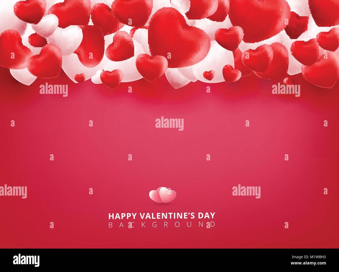 Liso Y Suave Rojo Y Blanco Día De San Valentín Corazones Sobre Fondo