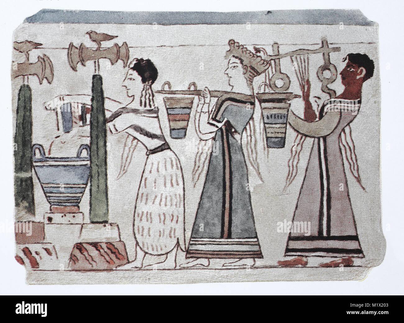La moda, la ropa de Mykenae, Creta, Chipre y el Egeo y cultura fenicia, 2000-500 BC, mujeres con baldes de agua y detrás de ellos un arpista, la pintura de un sarcófago