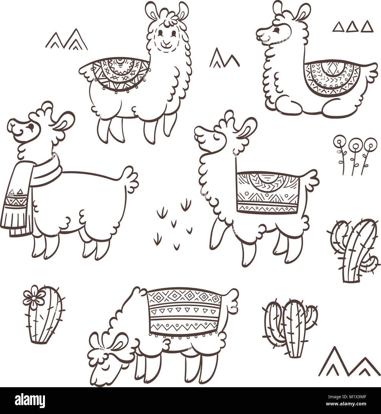 Esquema Lindo Llamas Ilustración Vectorial De Tinta Para Los Niños