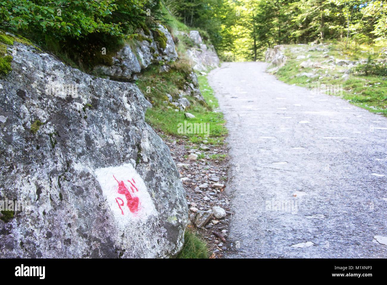 Símbolo de la frontera del parque nacional de los Pirineos pintado sobre una roca Imagen De Stock