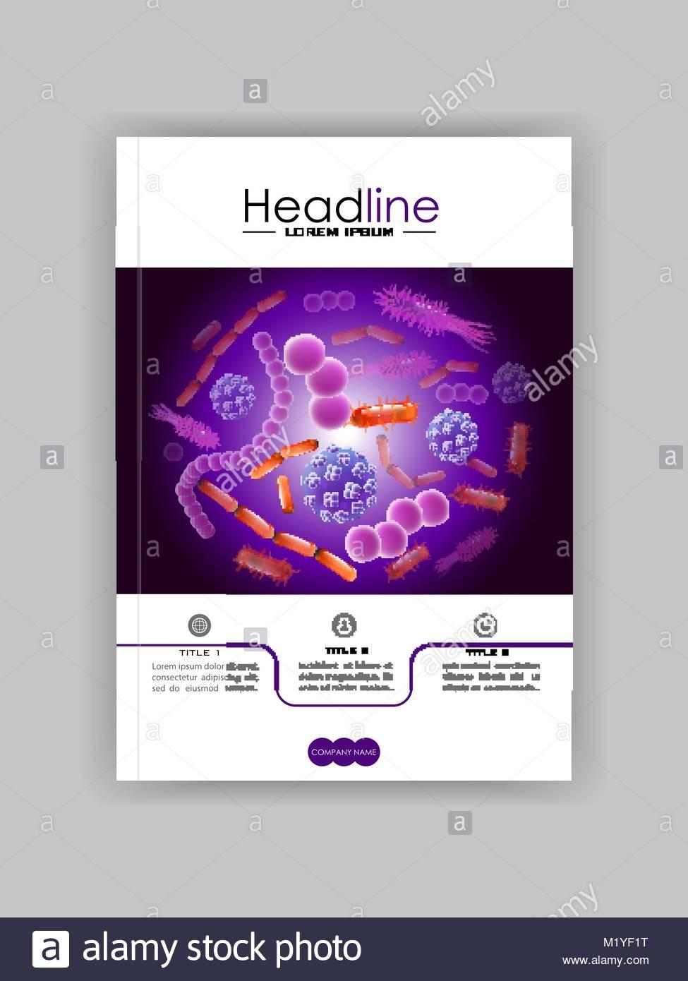 Plantilla de diseño de cubierta en A4. Sopa de virus bacterias ...