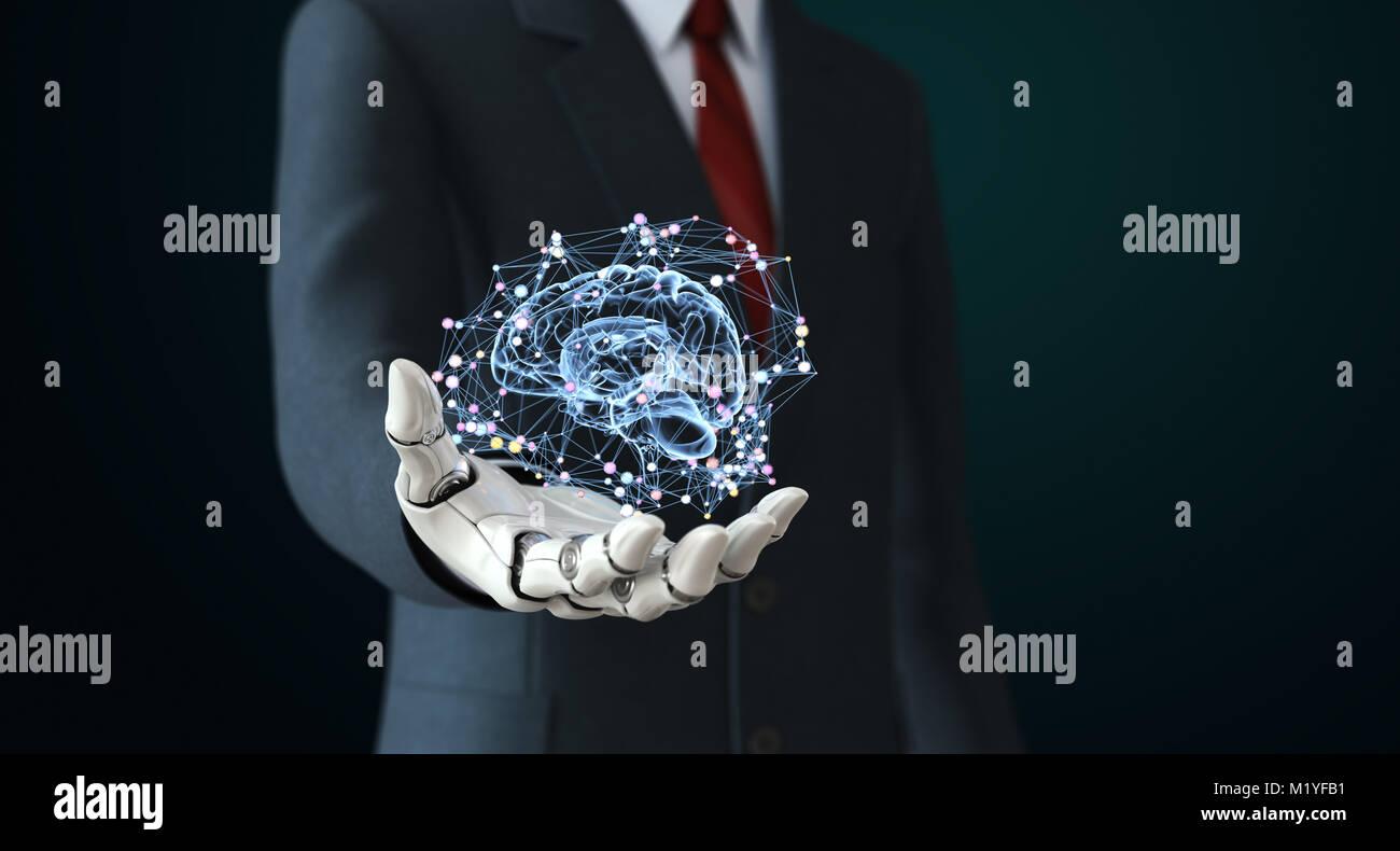 Robot en traje holdng inteligencia artificial. Ilustración 3D Imagen De Stock