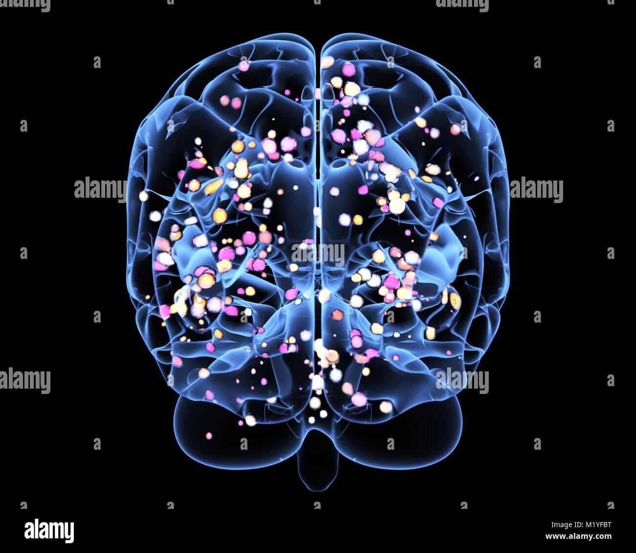 La actividad cerebral durante el pensamiento. Ilustración 3D Imagen De Stock