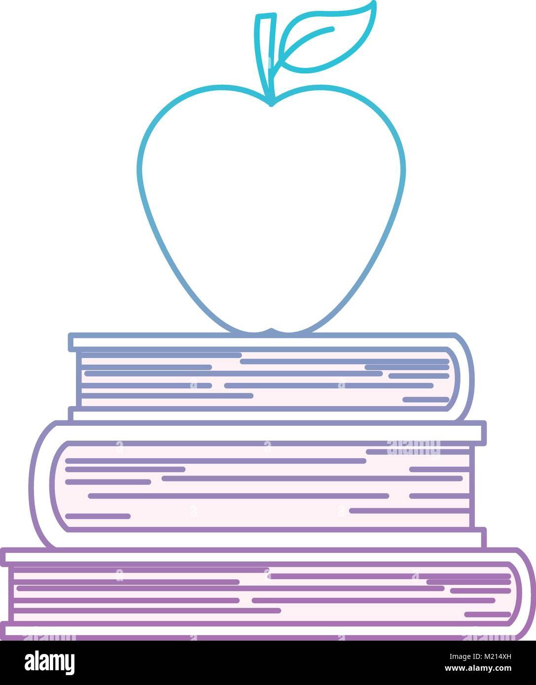 Libros apilados con Apple en la parte superior en azul degradado de ...