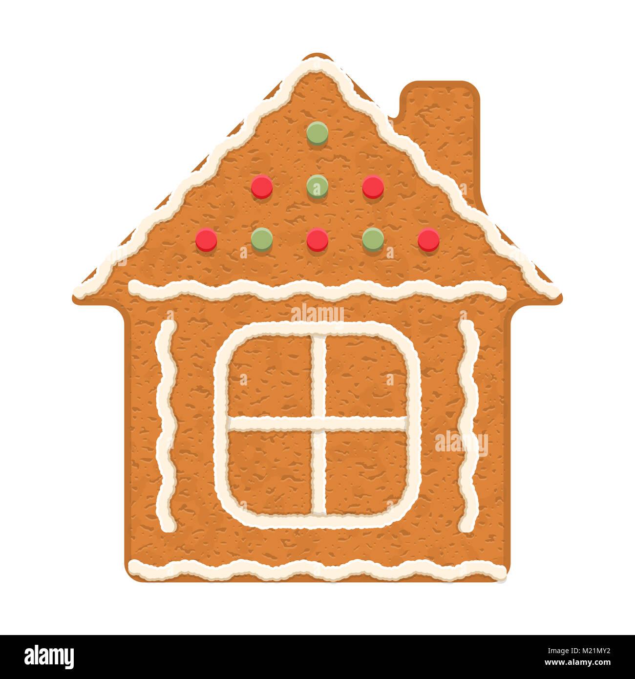 Casa de pan de jengibre, galletas navideñas tradicionales, EPS vector10 ilustración Imagen De Stock
