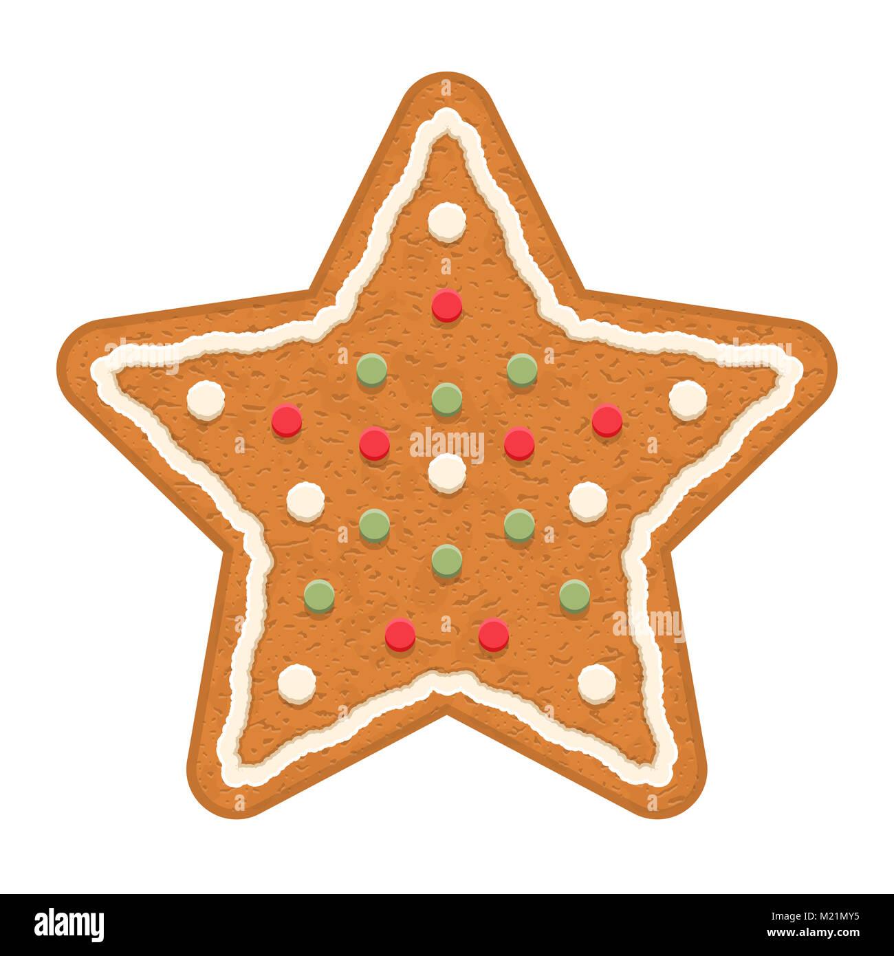 Estrellas de pan de jengibre, galletas navideñas tradicionales, EPS vector10 ilustración Imagen De Stock