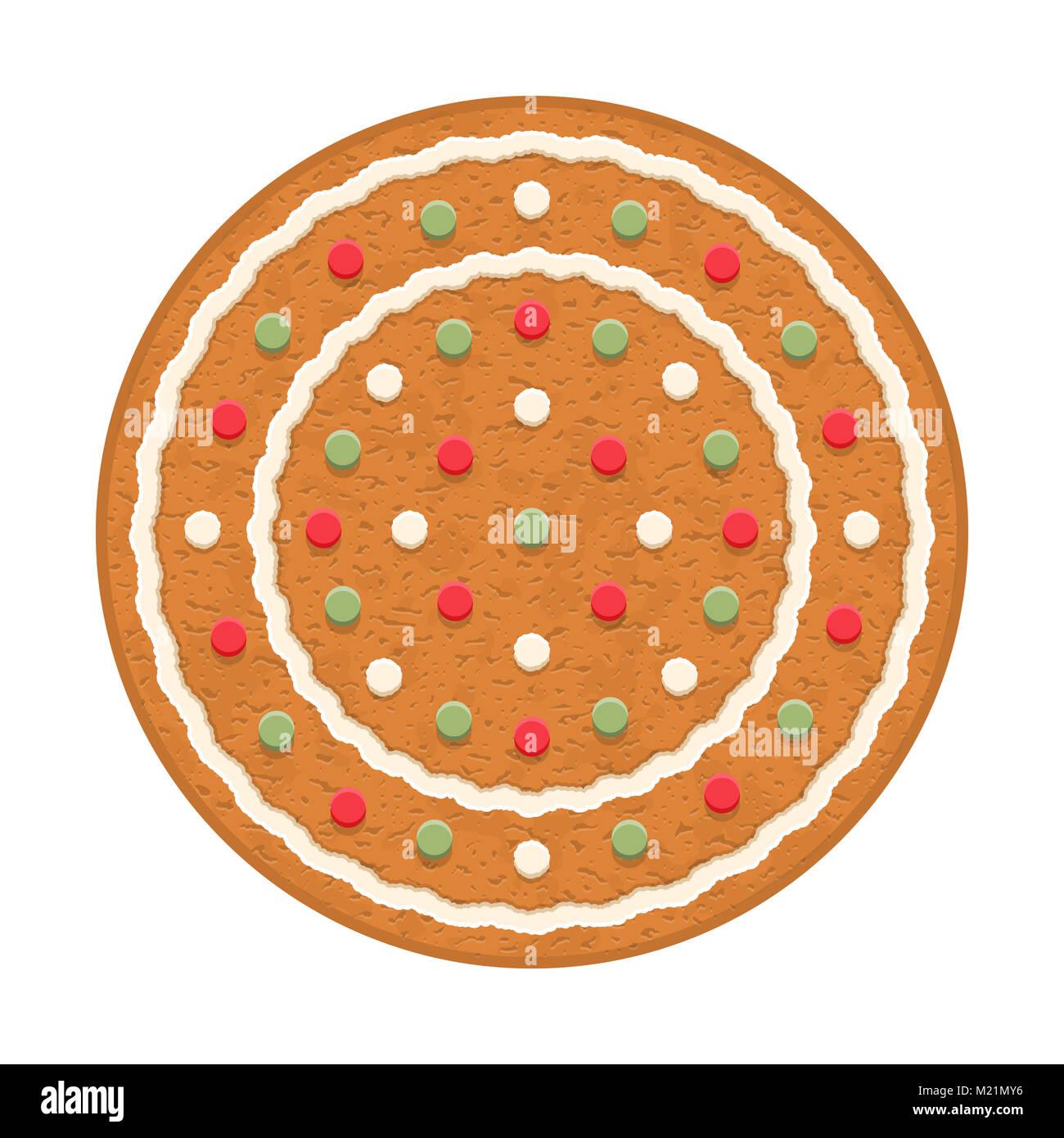 Círculo de pan de jengibre, galletas navideñas tradicionales, EPS vector10 ilustración Imagen De Stock
