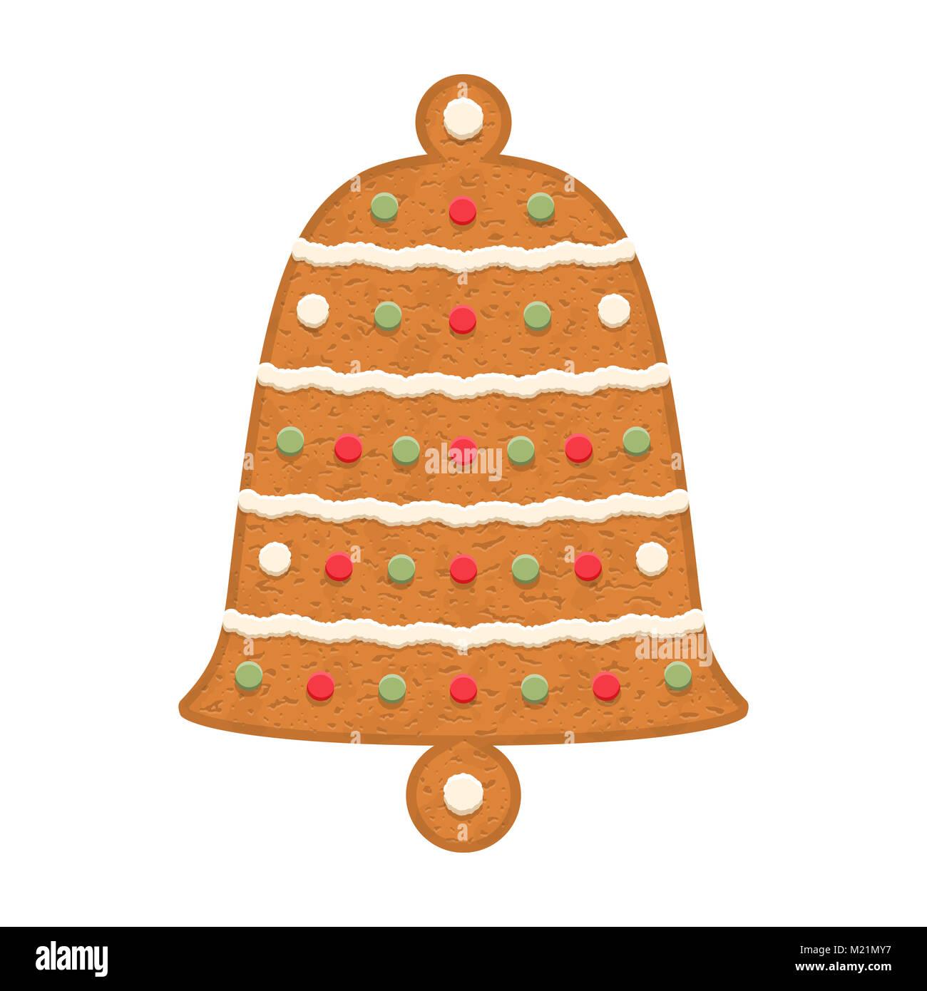 Campana de pan de jengibre, galletas navideñas tradicionales, EPS vector10 ilustración Imagen De Stock