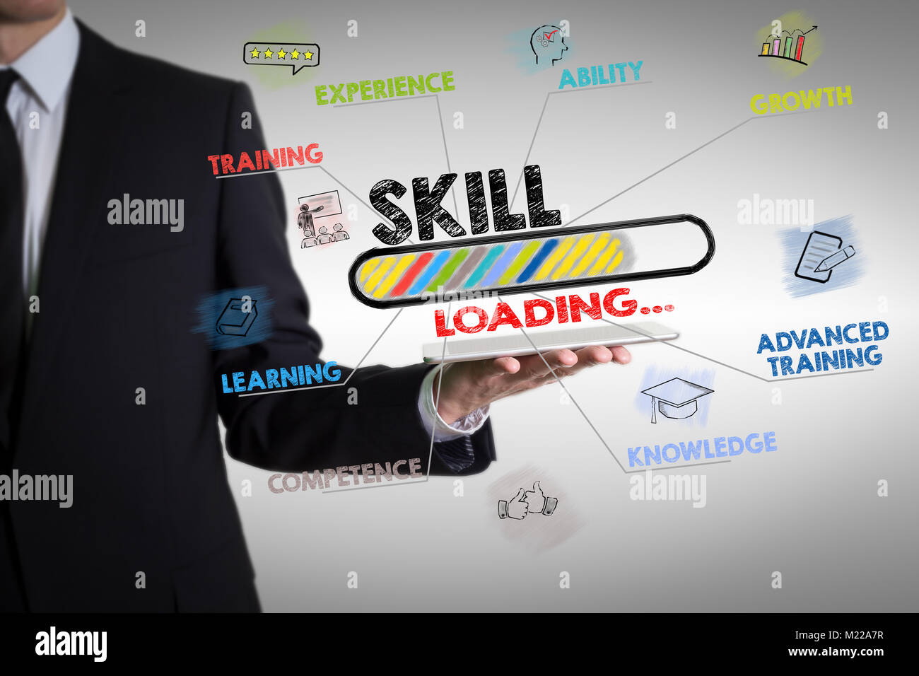 Concepto de habilidad con la joven sosteniendo un equipo tablet pc Imagen De Stock