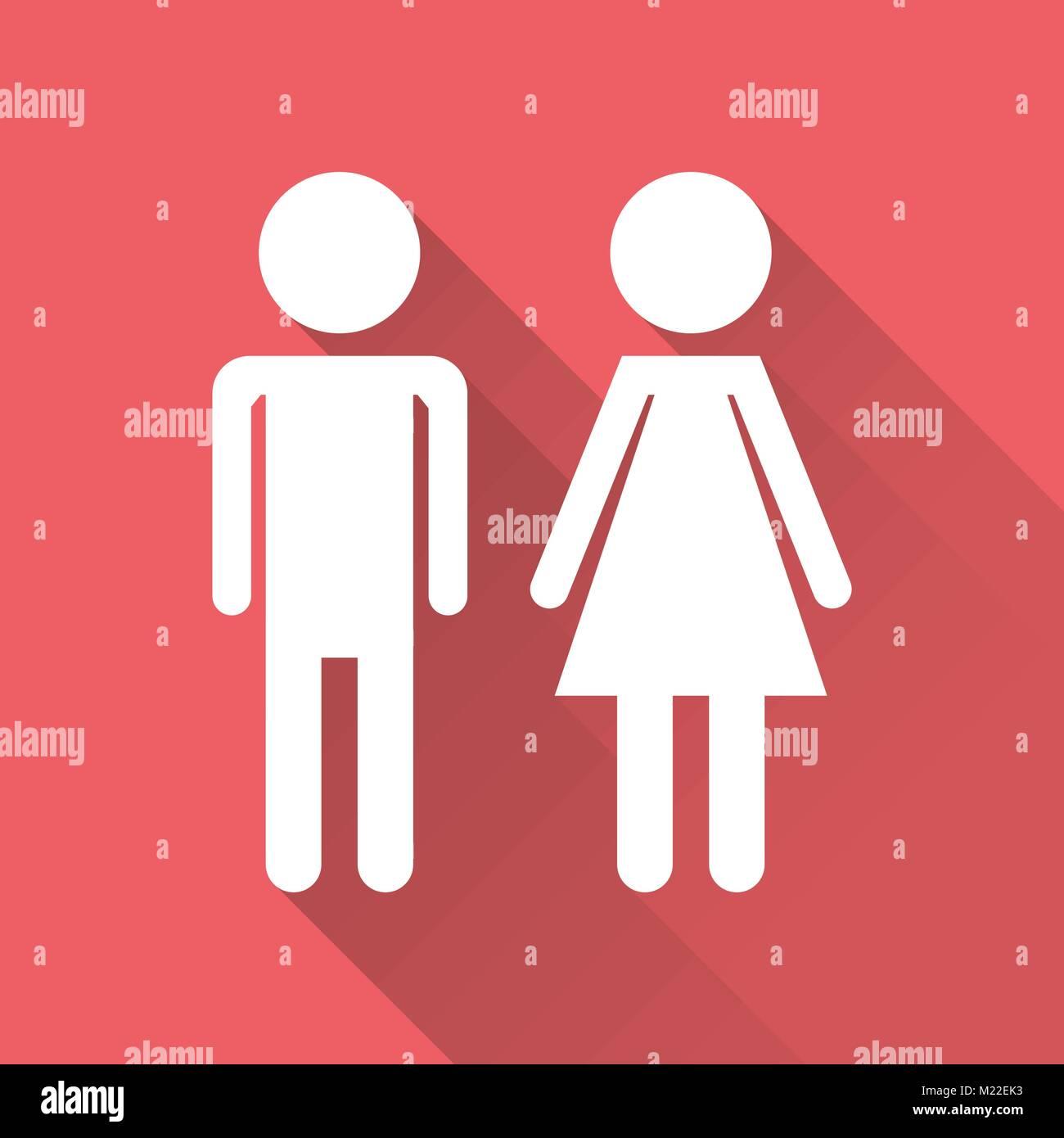 Hombre Y Mujer Vector Icono Con Larga Sombra Piso Moderno