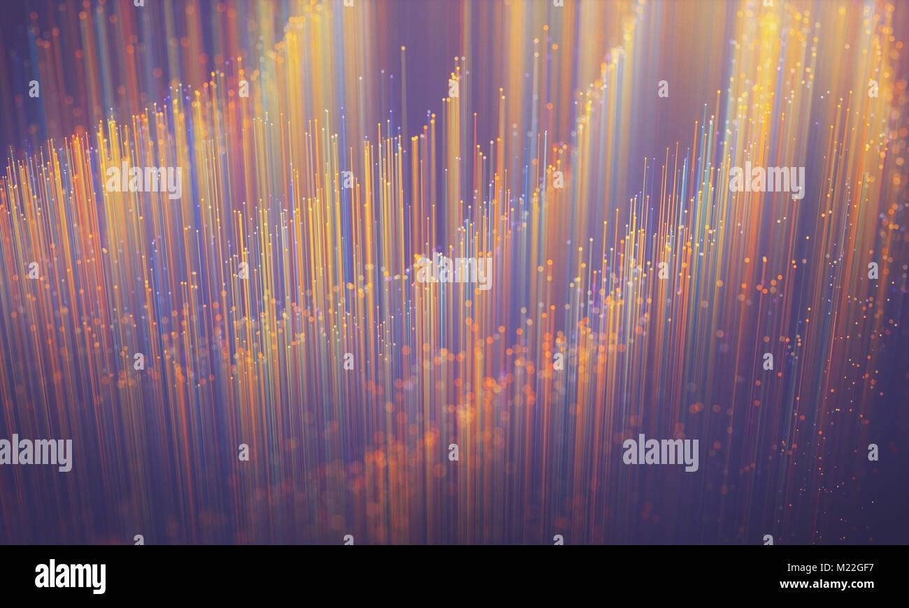 Fibra óptica de color, imagen de fondo, el concepto de tecnología de transferencia de datos y comunicación. Imagen De Stock