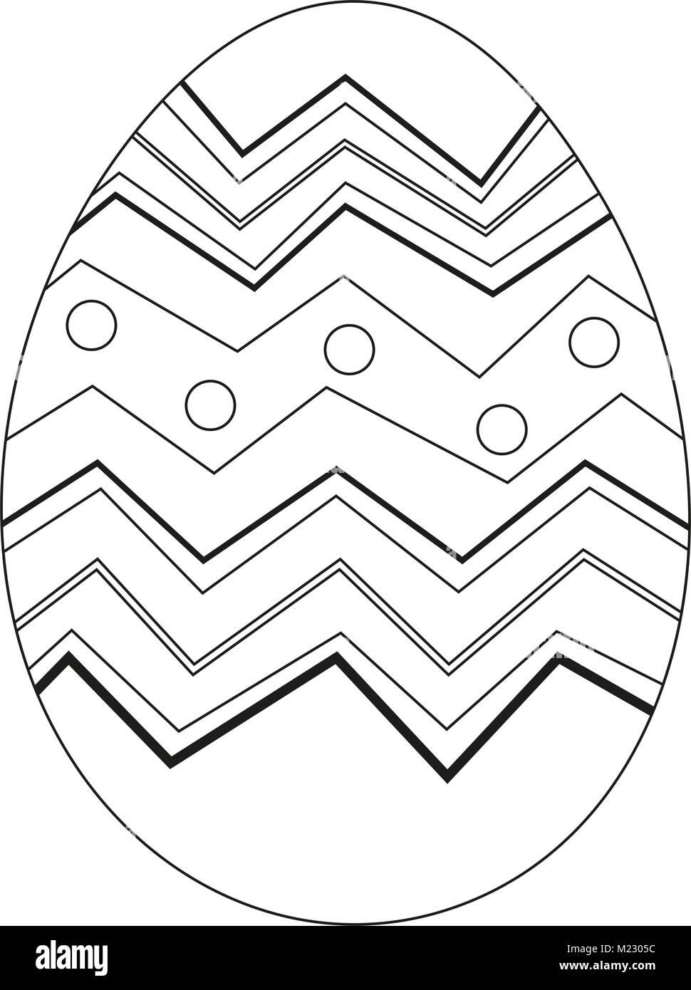 Blanco y negro póster de huevo de pascua. Página del libro de ...