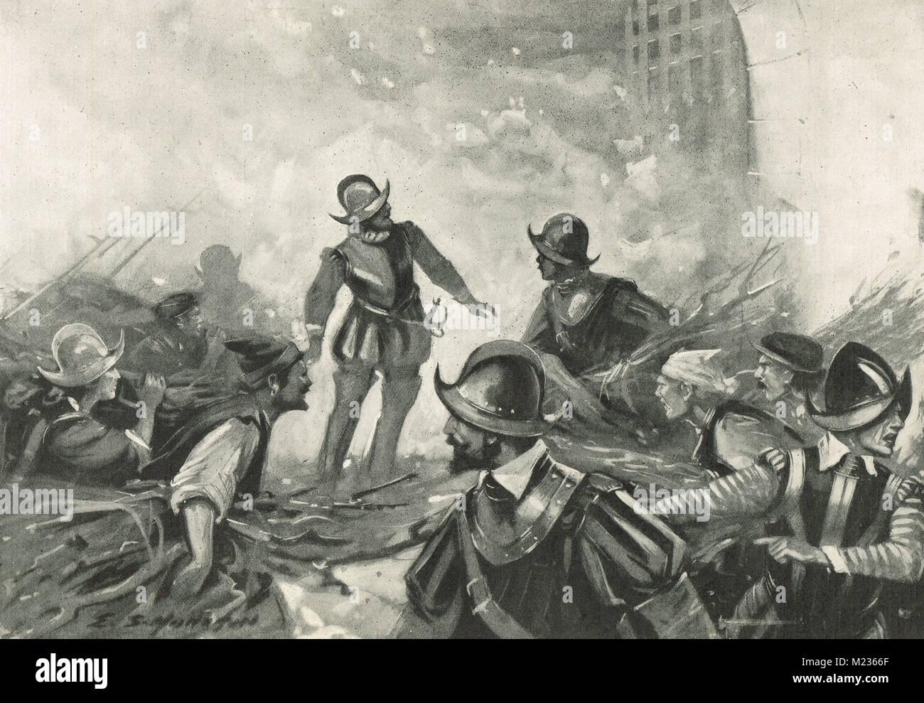 Asalto a la Fortaleza de Sagres, Portugal, 14 de mayo de 1587 Imagen De Stock
