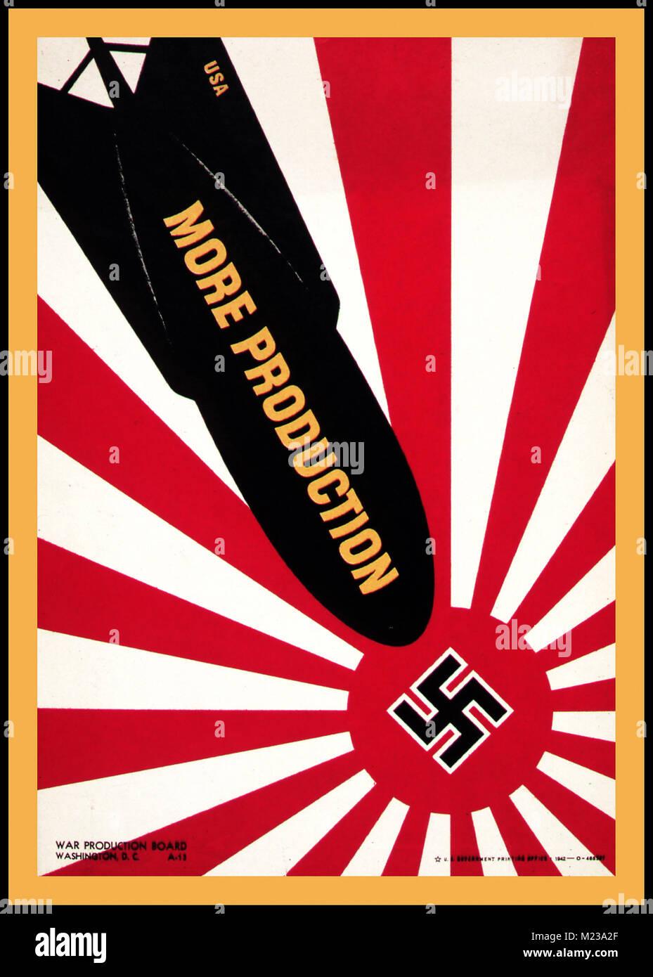 Vintage WW2 1940 American USA 'Más producción' cartel propagandístico de persuadir a los Imagen De Stock