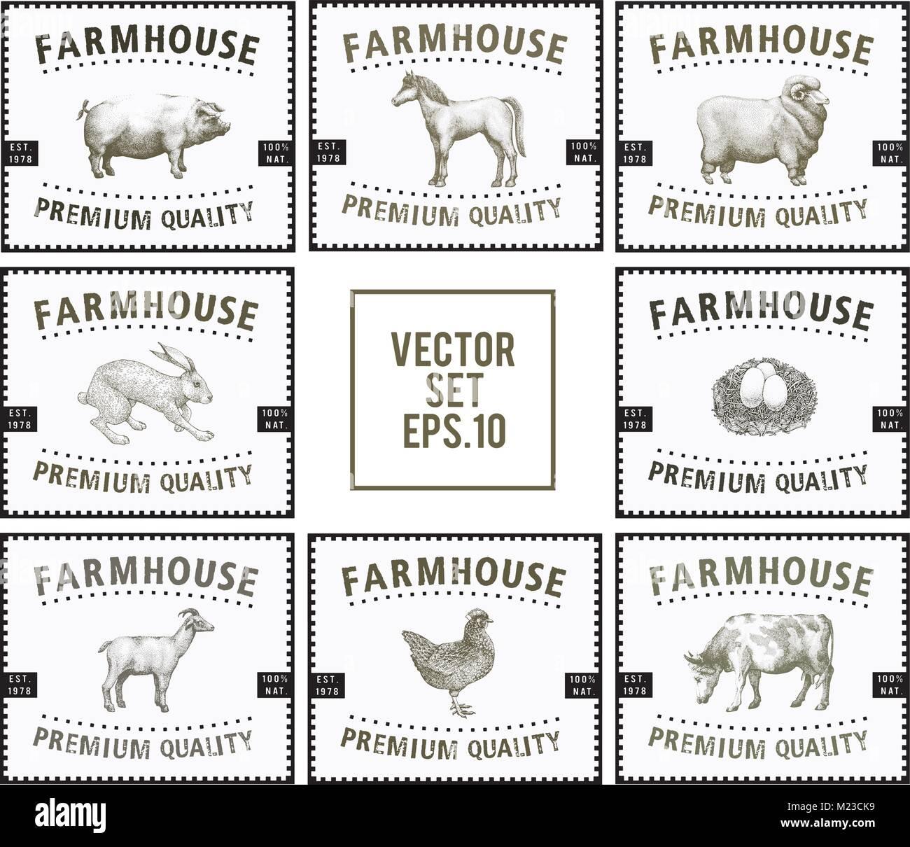 Etiquetas con animales de granja. Plantillas de conjuntos de ...