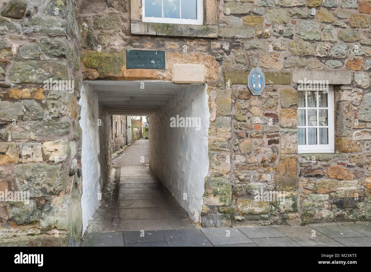 Louden está cerca, el más completo cierre dejó en St Andrews, Fife, Escocia, Reino Unido Imagen De Stock