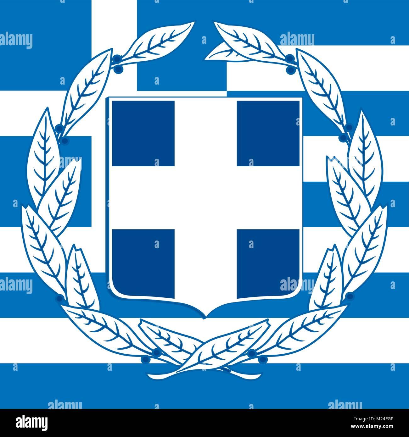 Grecia el escudo y la bandera, símbolos oficiales de la nación Ilustración del Vector