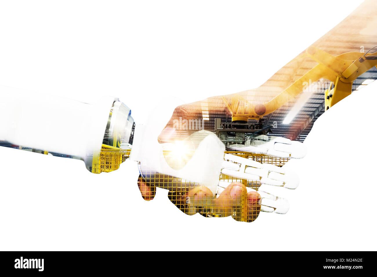 Los conceptos de inteligencia artificial y robótica. 4.0 Industrial Cyber sistemas físicos concepto. Doble exposición Foto de stock