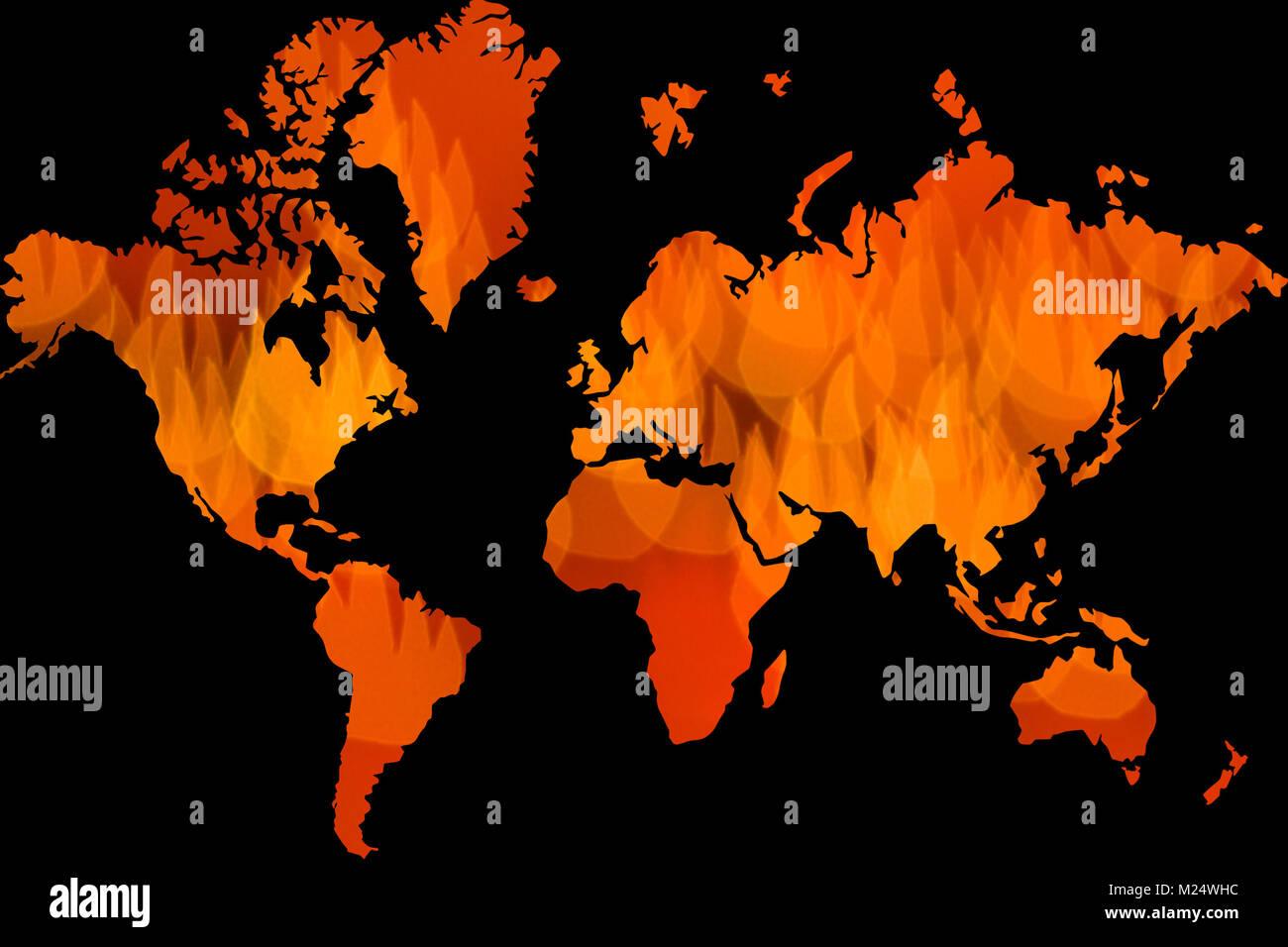 Rojo fuego icono como mapa mundial sobre fondo negro Imagen De Stock