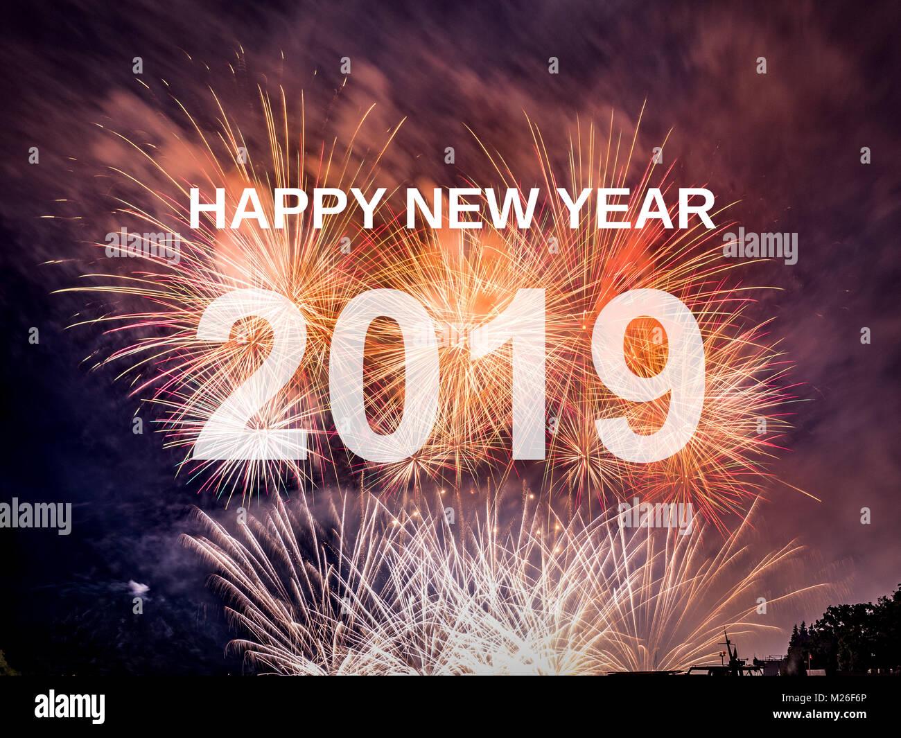Feliz Ano Nuevo 2019 Con Fuegos Artificiales De Fondo Celebracion