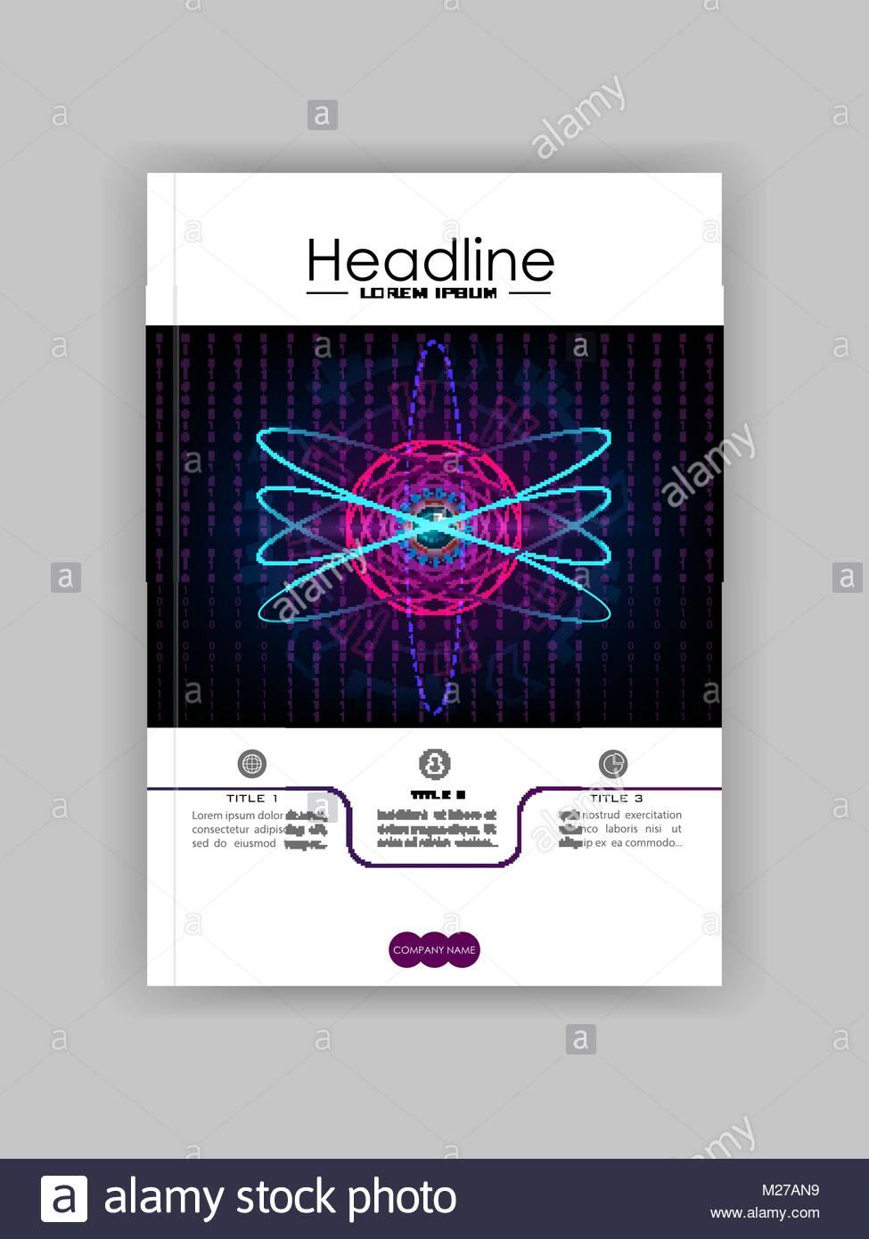 Banner web plantilla cubierta con HUD atom de núcleo metálico ...