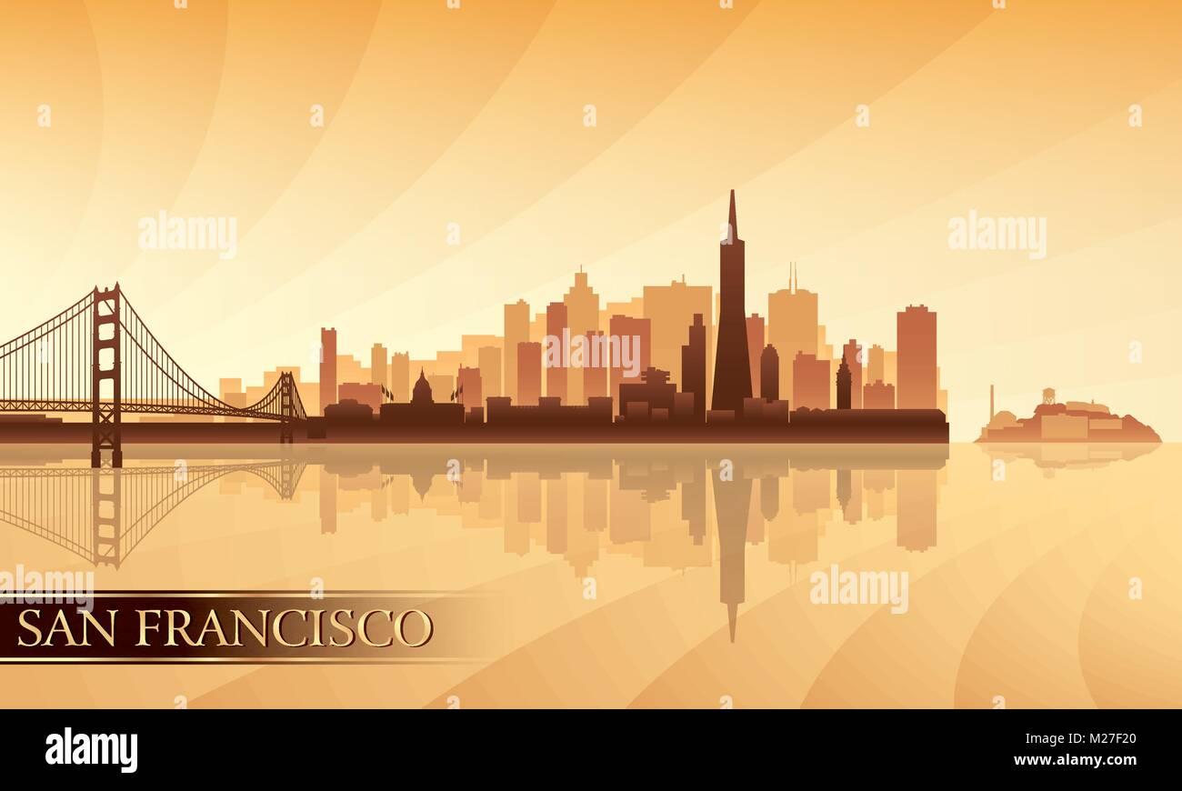 La silueta del horizonte de la ciudad de San Francisco de fondo. Ilustración vectorial Imagen De Stock
