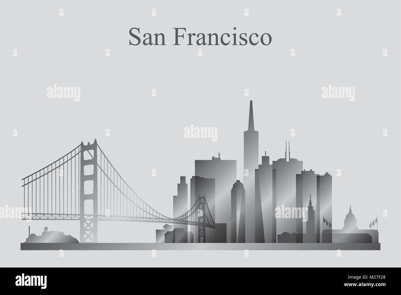 La silueta del horizonte de la ciudad de San Francisco en escala de grises, ilustración vectorial Imagen De Stock