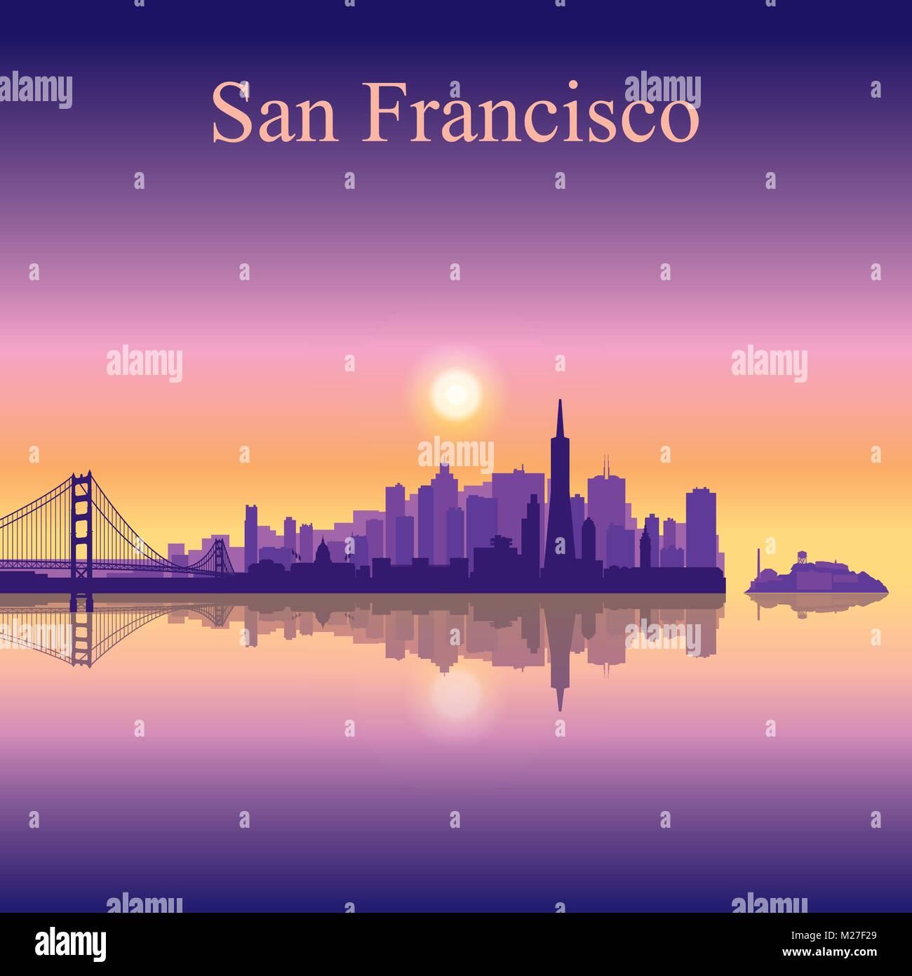 La silueta del horizonte de la ciudad de San Francisco de fondo, ilustración vectorial Imagen De Stock
