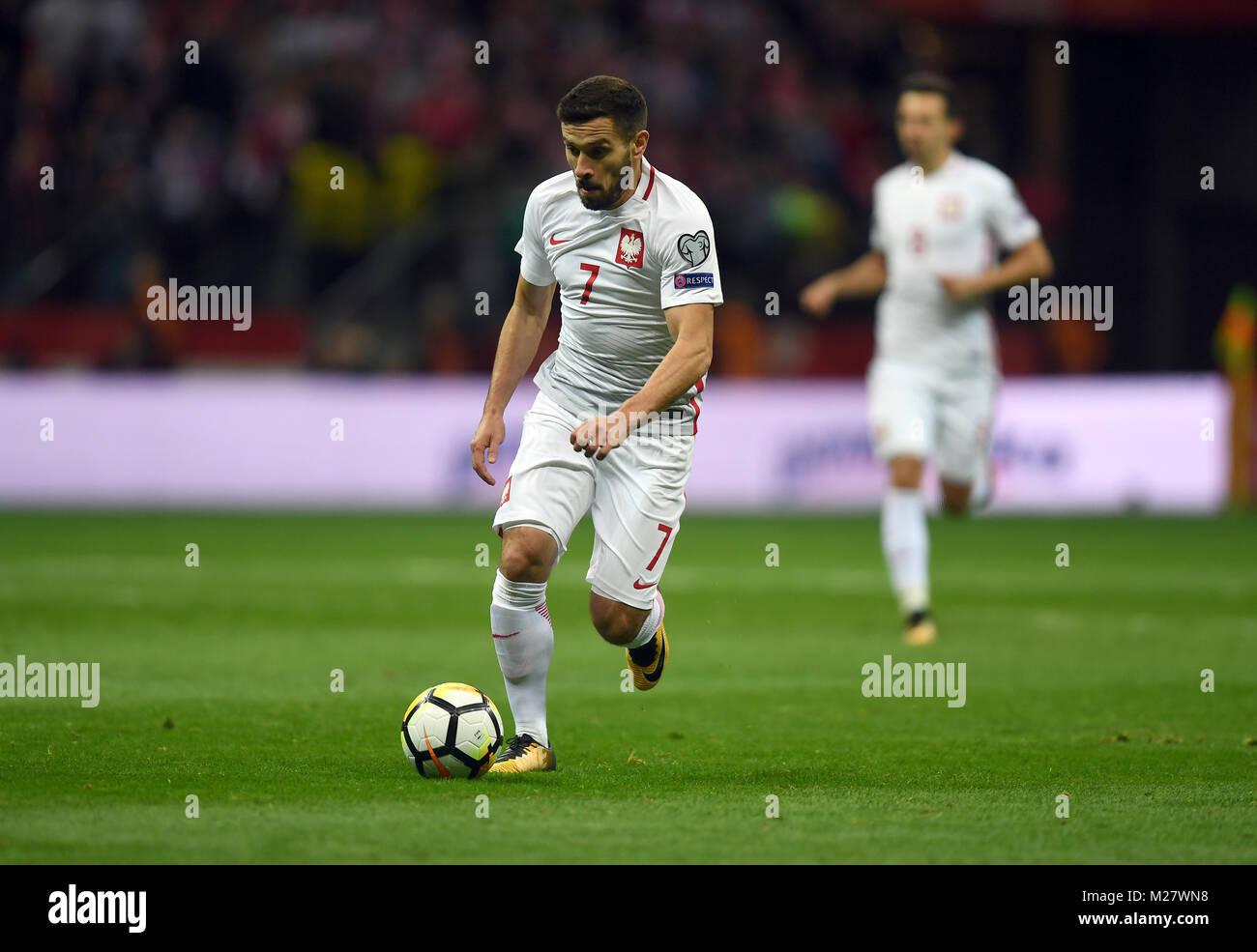 El 8 de octubre, 2017 - Varsovia, Polonia: la Copa Mundial de Fútbol Rusia 2018 calificación coincidan Imagen De Stock