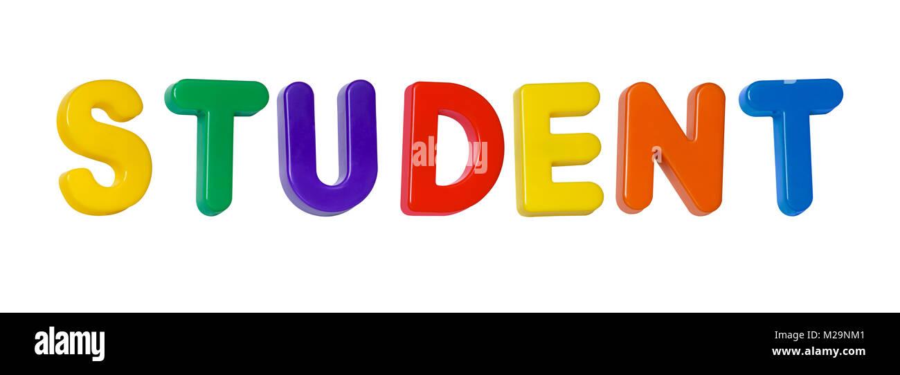 La palabra 'estudiante' compuesto de letras de plástico Imagen De Stock