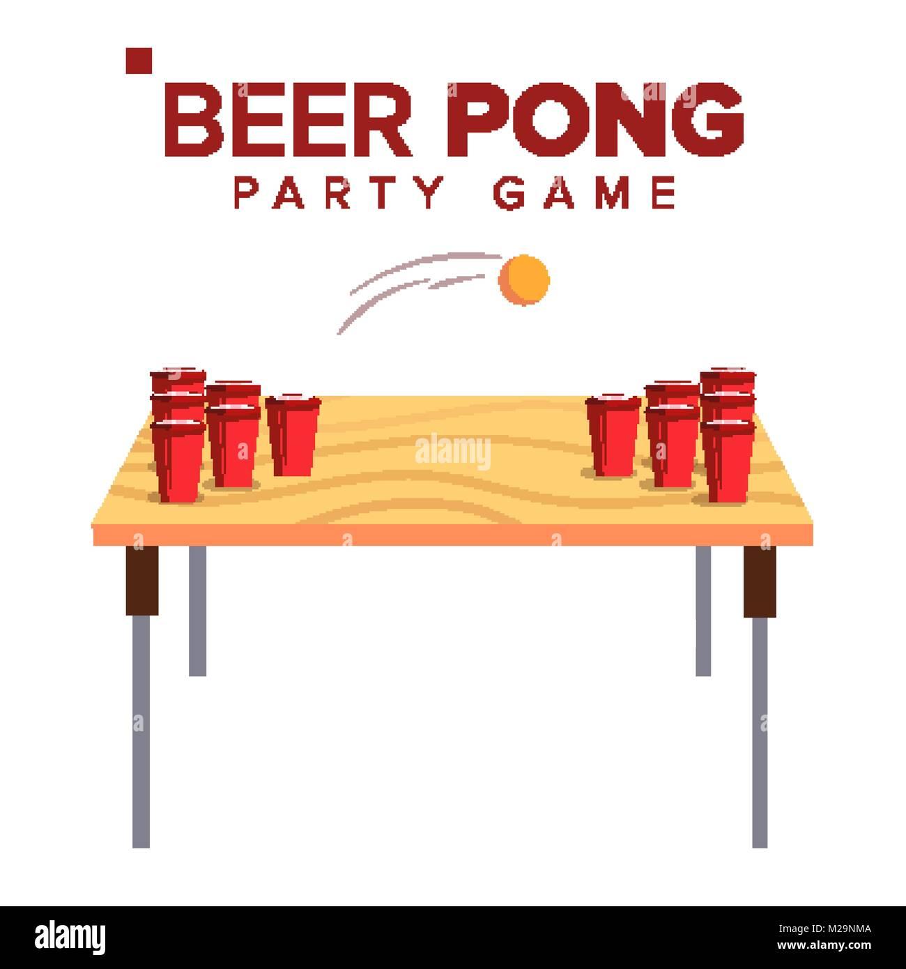 Beer Pong Juego Vector Juegos De Alcohol Tazas Rojo Sobre La Mesa