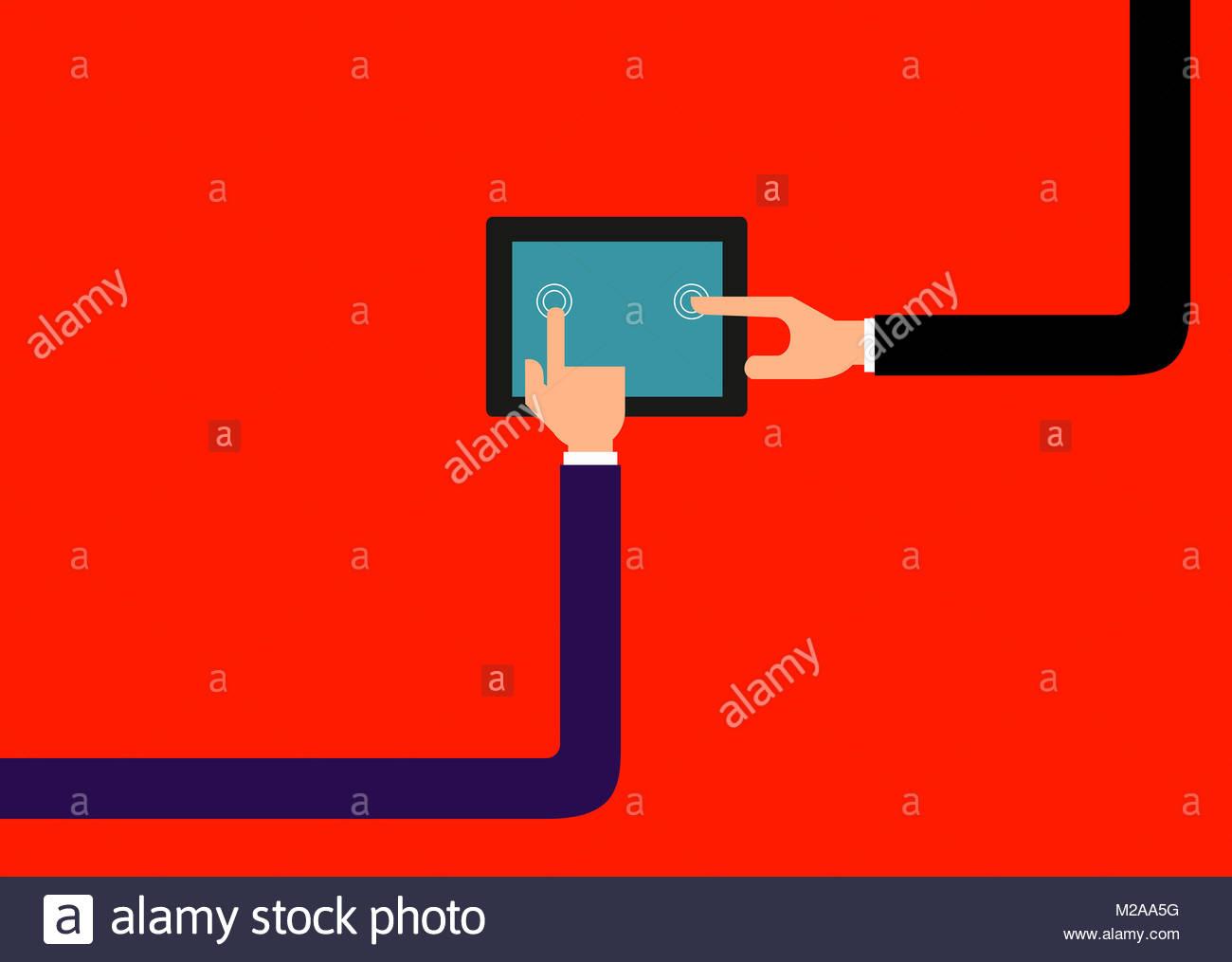 Dos hombres de negocios conectados mediante tableta digital Imagen De Stock