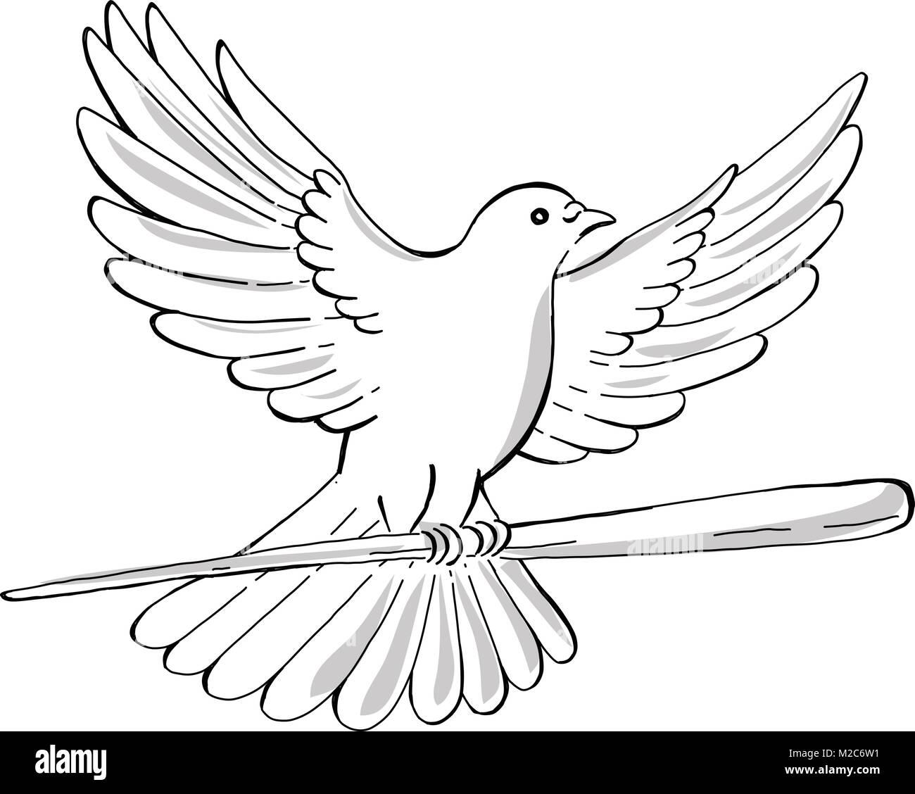 Estilo Boceto Dibujo Ilustración De Un Auge De La Paloma O La Paloma