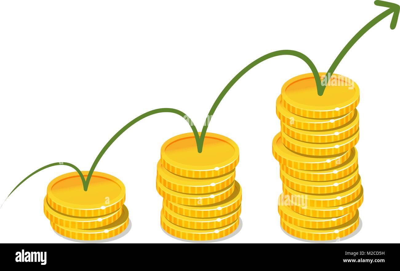Las ganancias, ingresos, concepto de dinero. Infografía de negocios. Ilustración vectorial Imagen De Stock