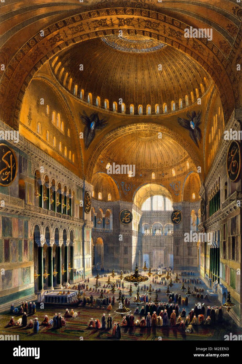 Vista general de la gran nave, Hagia Sophia, mirando al oeste - Gaspar Fossati - Louis Haghe Imagen De Stock