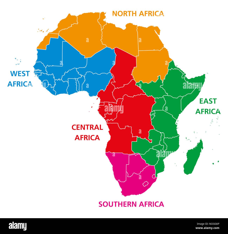 Mapa Africa Del Norte.Las Regiones De Africa Mapa Politico Naciones Unidas Geoscheme Con Paises Individuales America Del Norte Africa Occidental Central Oriental Y Meridional En Diferentes Colores Fotografia De Stock Alamy