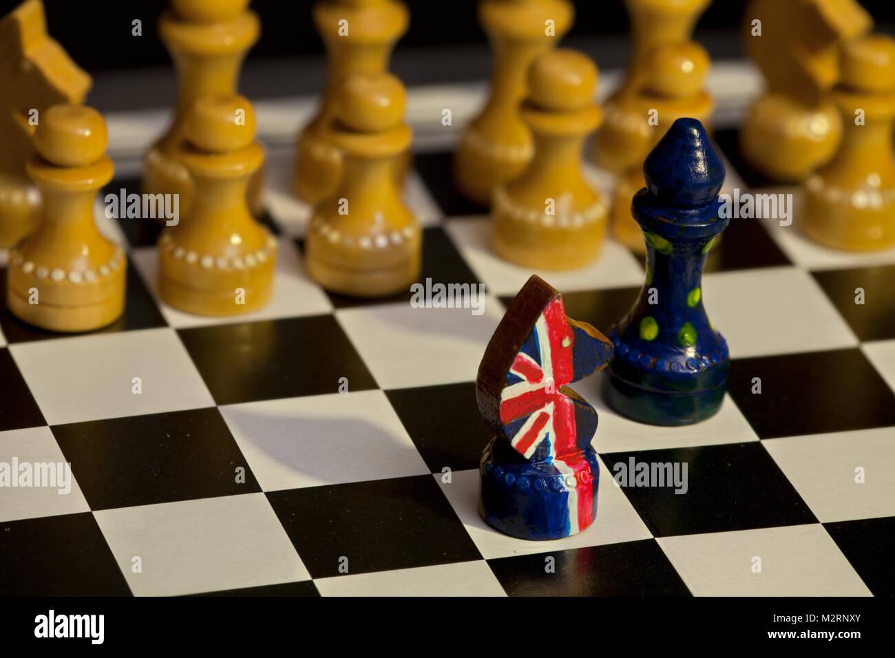 Juego de ajedrez de Gran Bretaña y la Unión Europea la confrontación Imagen De Stock
