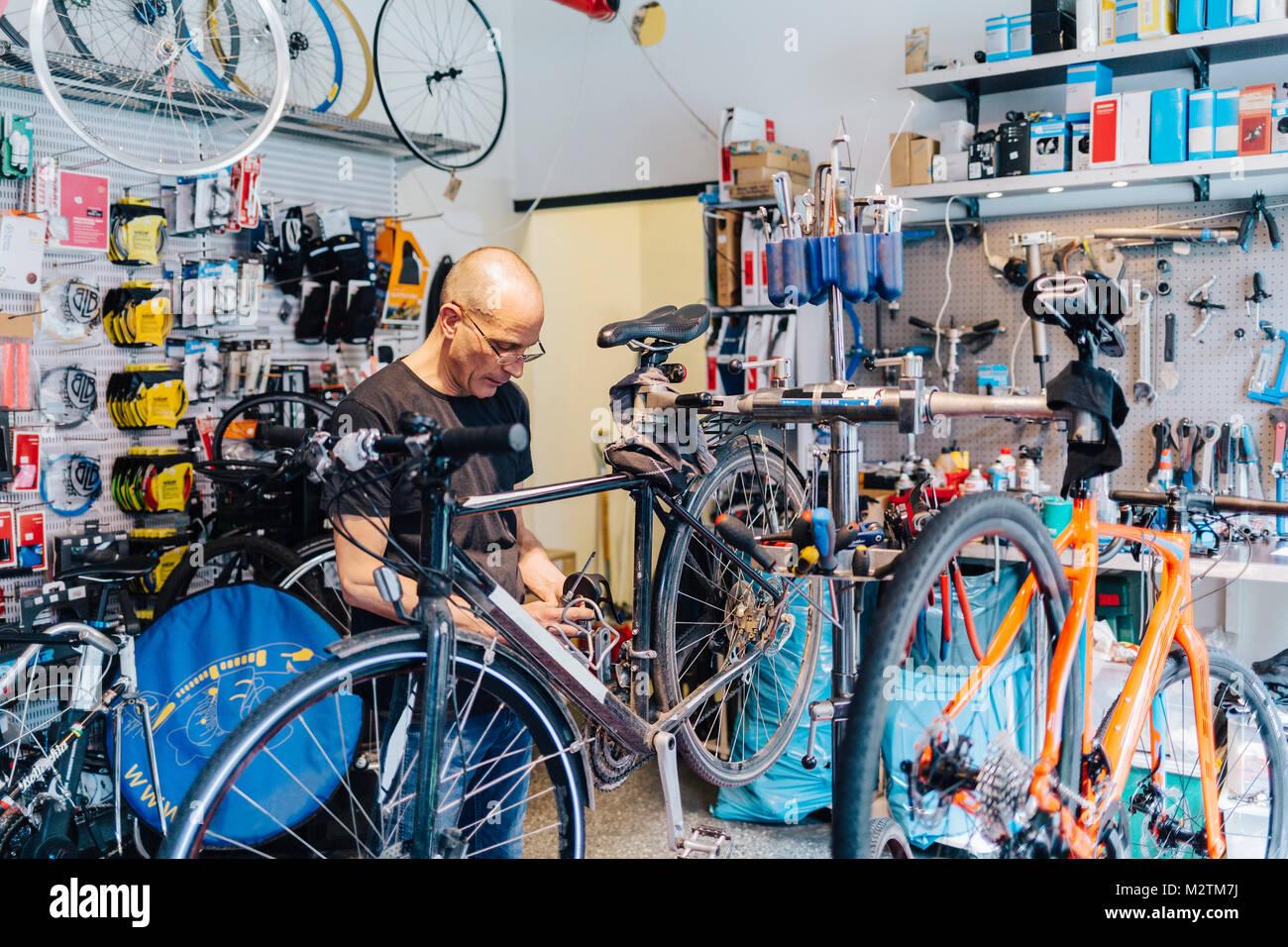 Propietarios de Negocios Pequeños de la tienda de bicicletas Foto de stock
