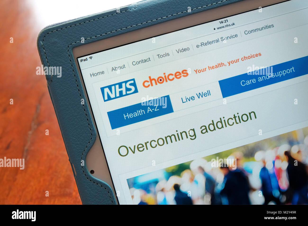 Nhs superar la adicción online Página principal Imagen De Stock