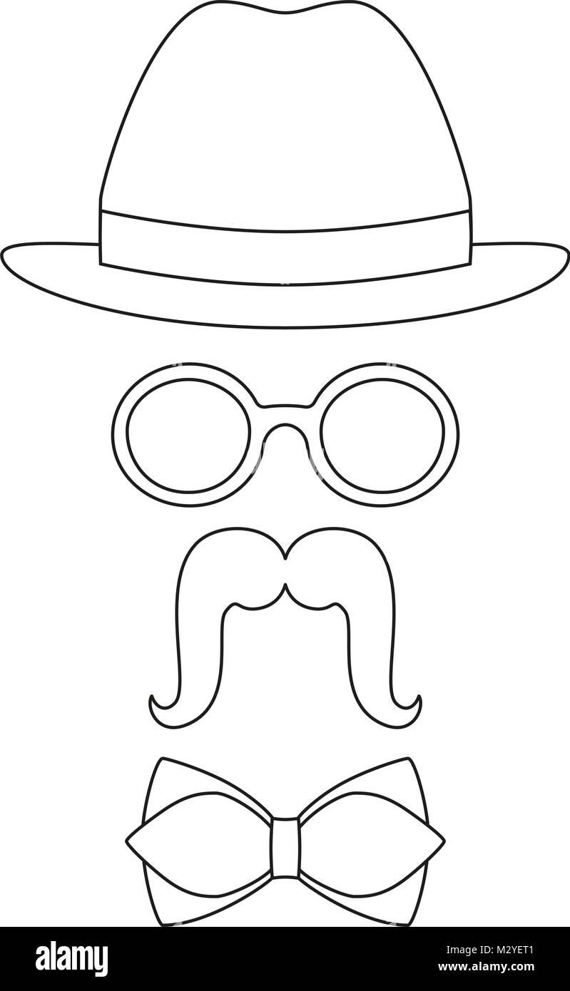 Póster Icono Hombre Padre Papá Día Avatar Set Gafas Sombrero Bigote