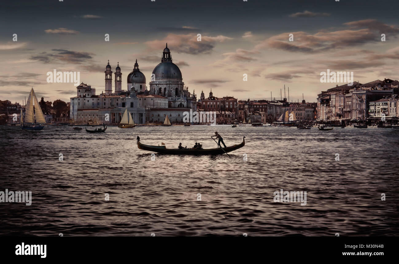 Europa, Italia, Provincia di Venezia, Venecia, laguna, Venecia, gondolero, Imagen De Stock