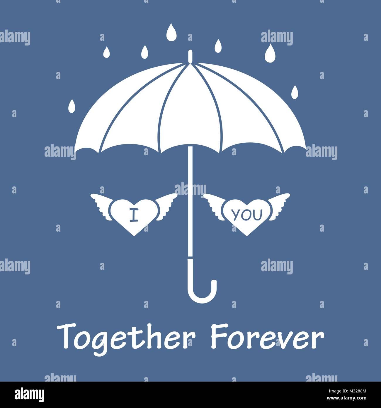 Dos Corazones Con Alas Bajo Un Paraguas En La Lluvia Diseño De