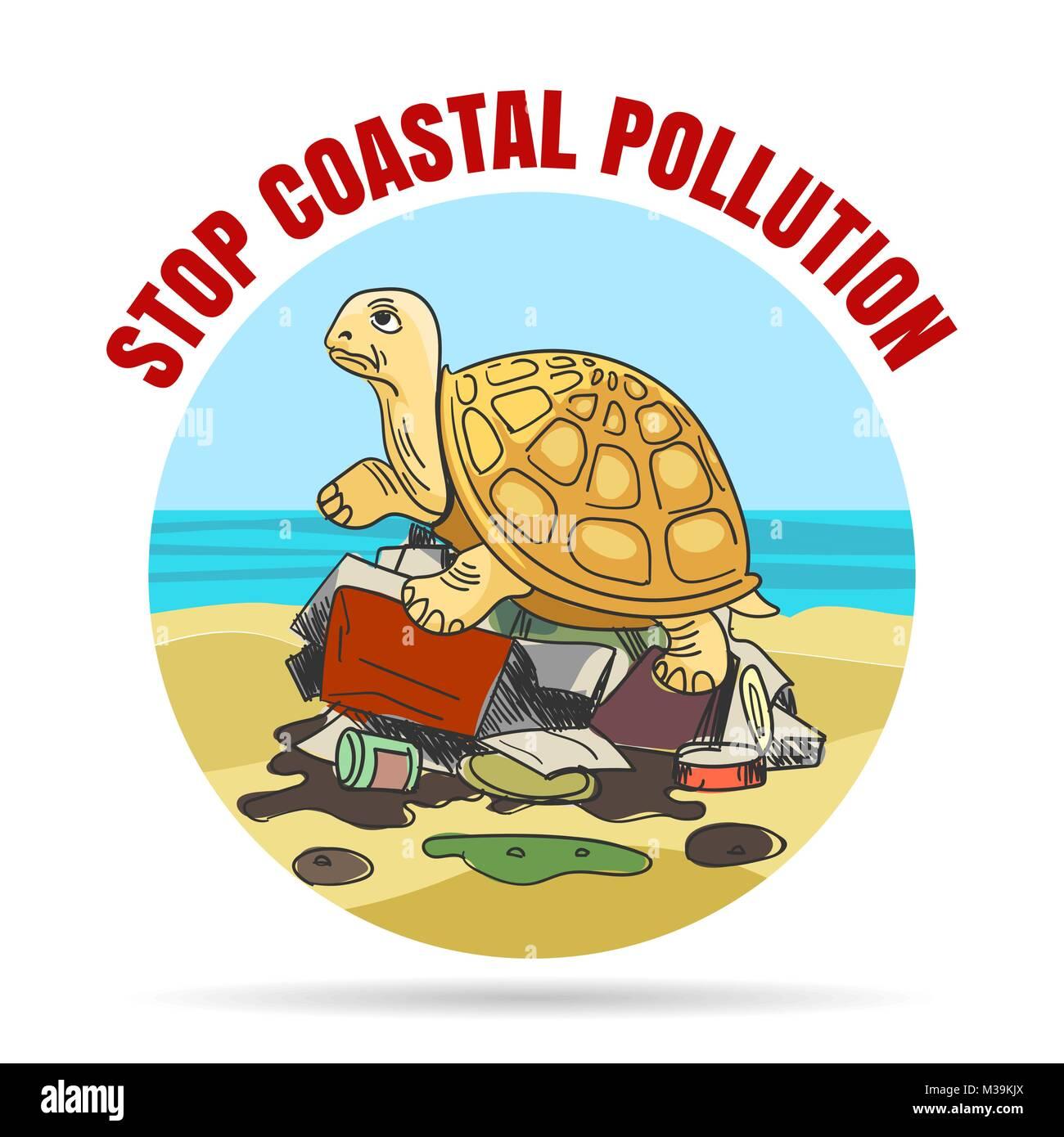 Detener La Contaminación Coastial Emblema En Estilo De Dibujos
