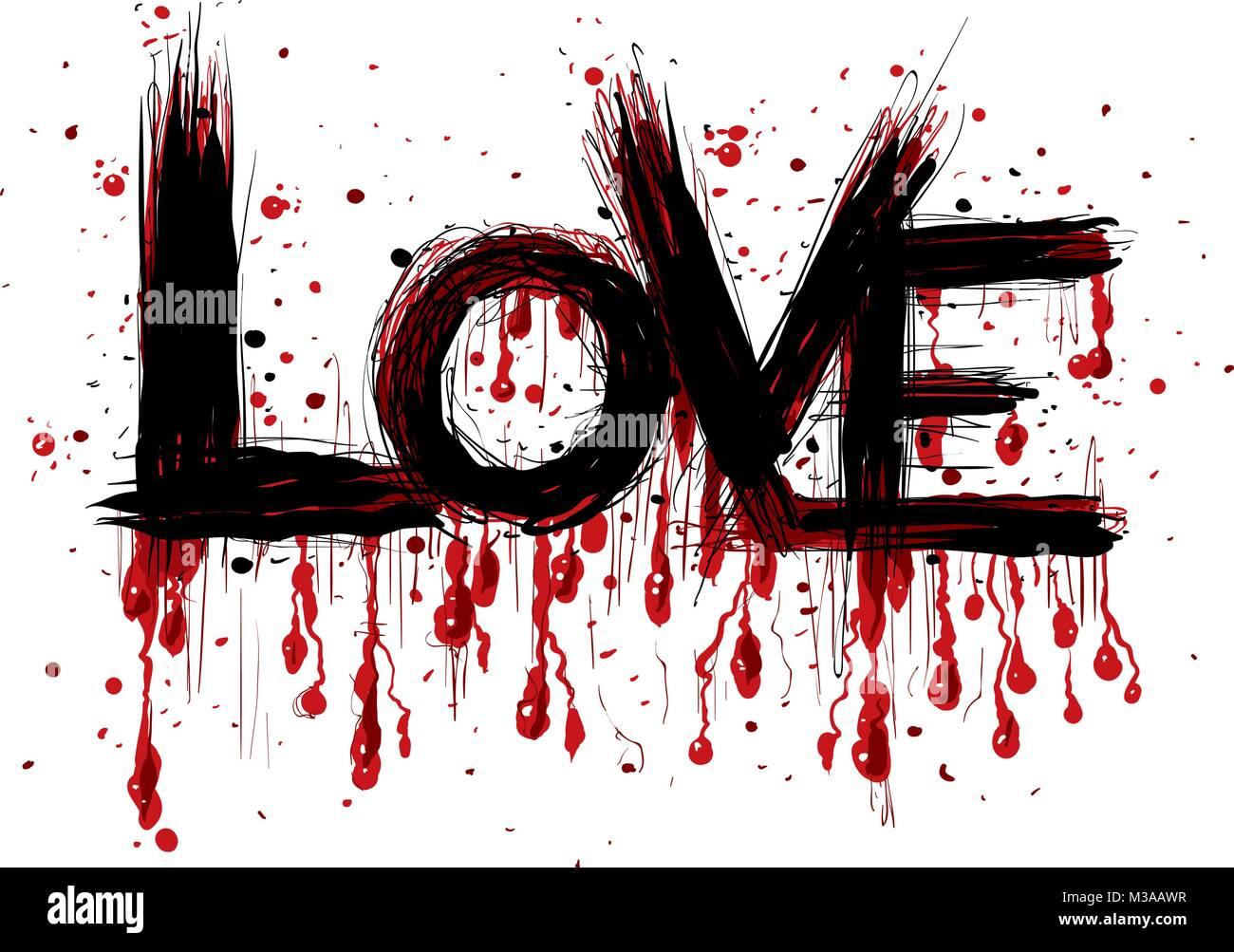 Una caricatura de trazo de pincel graffiti letras de la palabra amor con gotas de sangriento que fluye desde las letras
