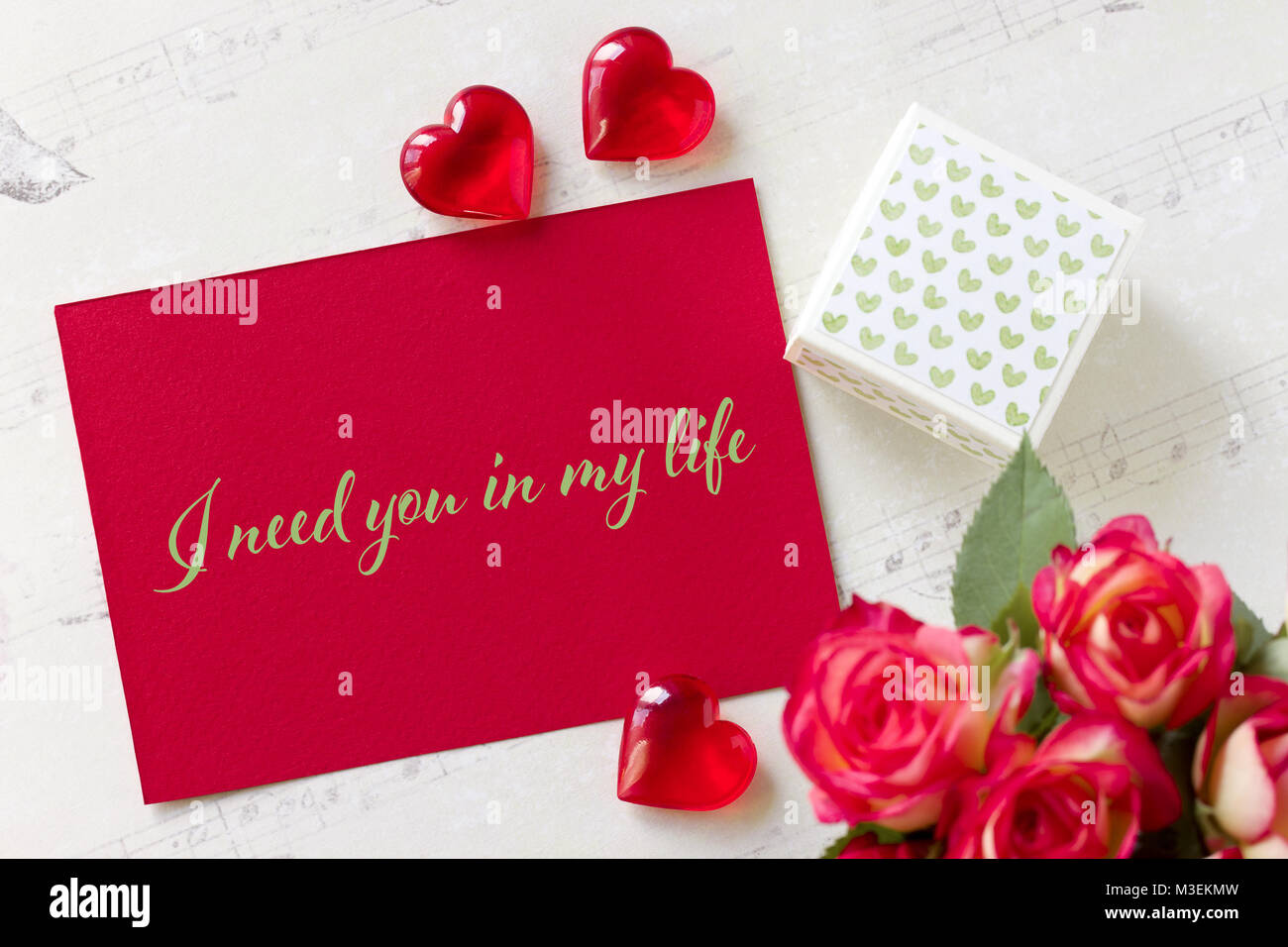 Tarjeta De Felicitación El Día De San Valentín Con Rosas Caja De