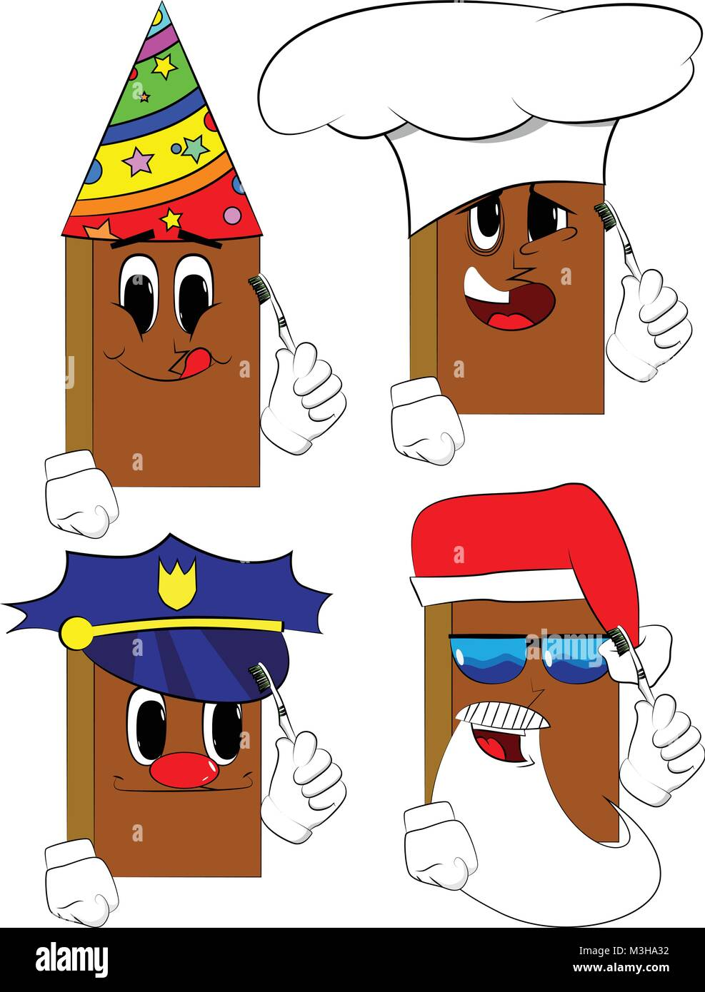 Libros sosteniendo el cepillo de dientes. Colección de libros de dibujos  animados con caras de 5dc6d395339f