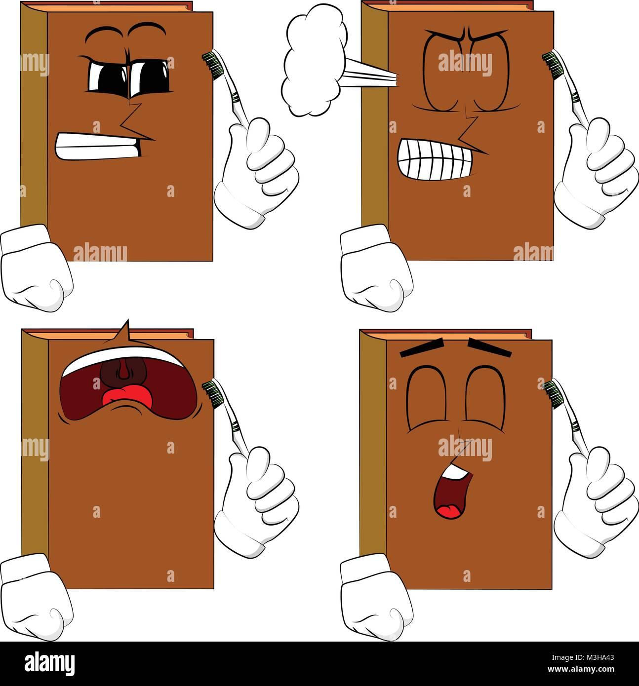 Libros sosteniendo el cepillo de dientes. Colección de libros de dibujos  animados con rostros tristes 5fd3a068e661