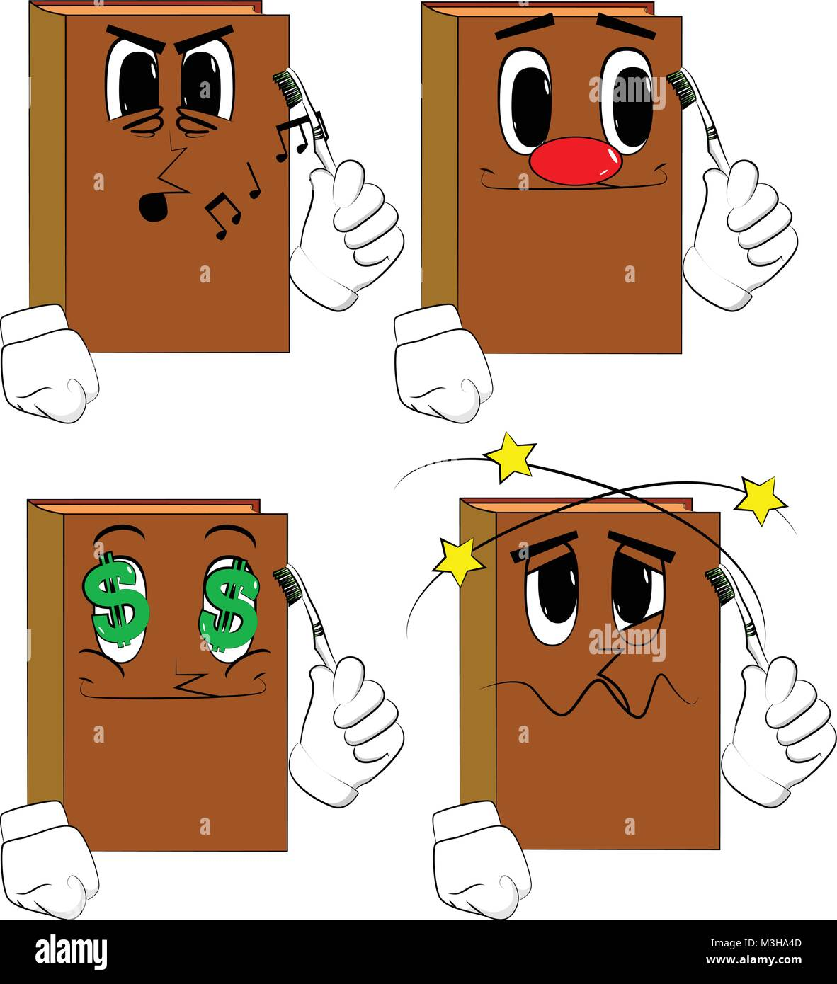 Libros sosteniendo el cepillo de dientes. Colección de libros de dibujos  animados con diferentes caras. Vector de expresiones. 754e811aa3cb