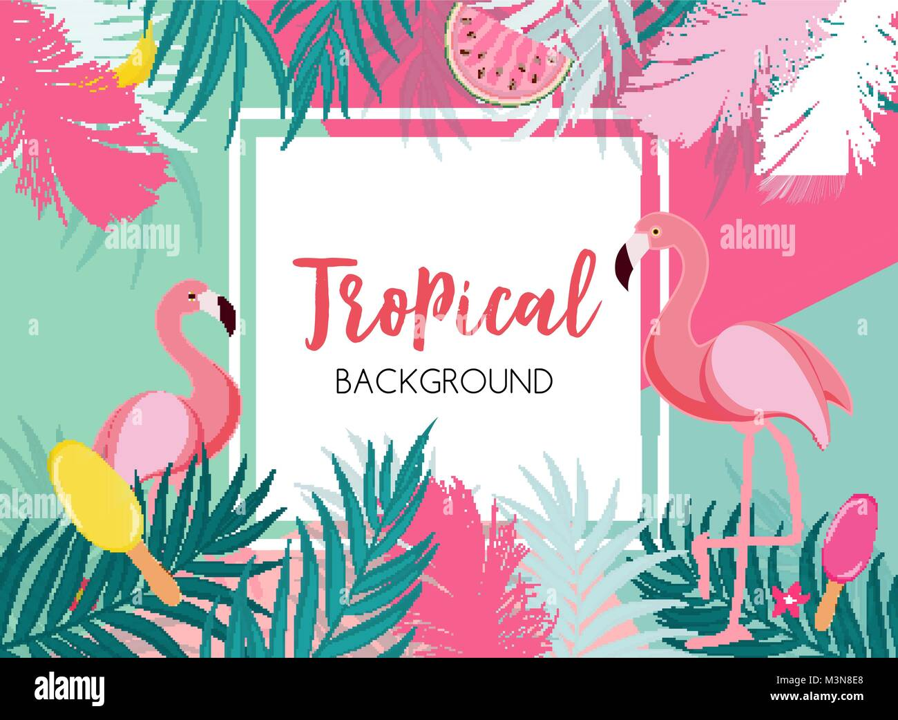 Lindo Verano fondo de marco abstracto con Pink Flamingo ilustración ...