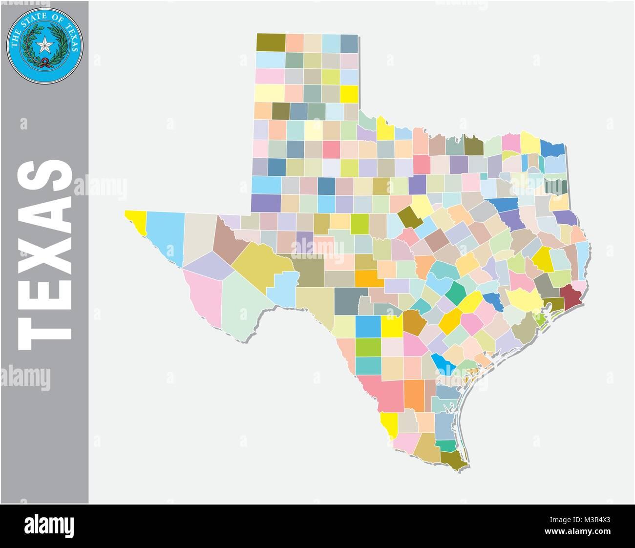 Color de mapa de vectores política y administrativa del estado federal de EE.UU. Texas con sello Imagen De Stock